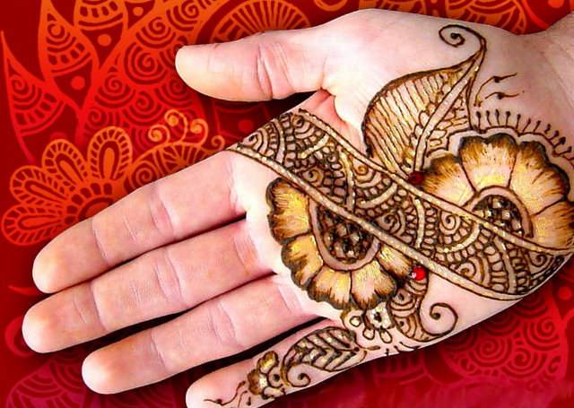 Arabic Mehandi Design with flowers wrapped around a diagonal motif