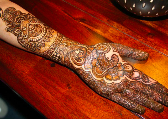 Bridal Mehandi Design featuring traditional Rajasthani pattern