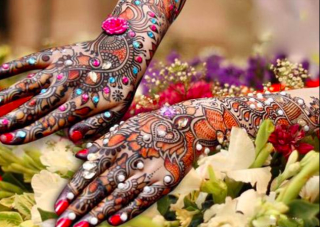 Bridal Mehandi Design with Flowers, Creepers and Colorful Stones