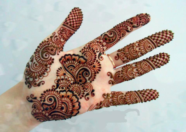 Latest Mehandi Bridal Designs with shaded floral and mango motifs