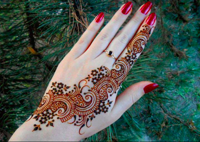 Simple Mehandi Design with beautiful arrangement of mango motif