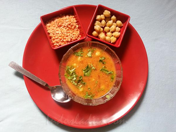 Red Lentil,Chickpea and Chili soup