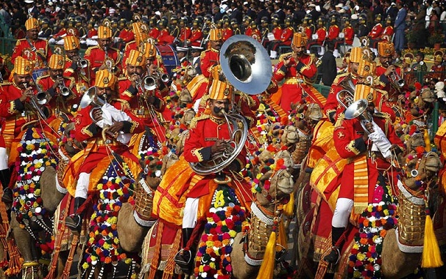 Indian paramiitary soldiers from Border Security Force, the only camel mounted band in the world, play music as they march down Rajpath during the main Republic Day parade in New Delhi, India, Thursday, Jan. 26, 2012. India is marking its 62nd Republic Day with military parades across the country. (AP Photo/Saurabh Das)